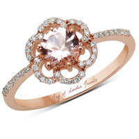 14K Rose Gold Natural 1CT Round Cut Peach Morganite & White Diamonds Floral Halo Ring