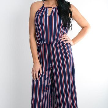 Navy Striped Palazzo Pant Jumpsuit