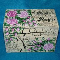 Elegant Recipe Box Wood Wedding Recipe Card Box Distressed Roses Personalized Hand Painted Wood Box