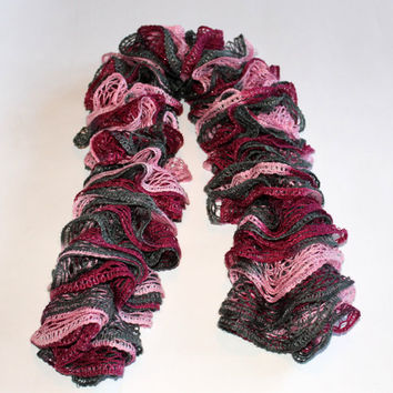 Knit Ruffled Scarf - Pinks and Green -Red Heart Sashay Yarn - Women