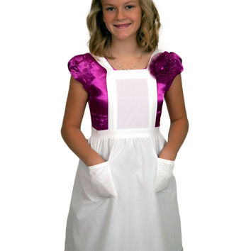 Girls and Petite Women Lace White Full Apron (Ages 8+)