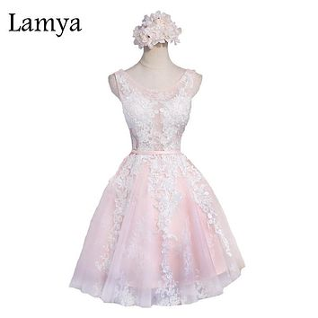 Lamya Excellent See Through Shoulder Short Prom Dresses Customized Colors Plus Size Tulle Ball Gown Party Gift