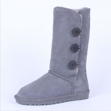 """UGG"" Women Fashion Wool Snow Boots Calfskin Shoes cute three Button Grey"