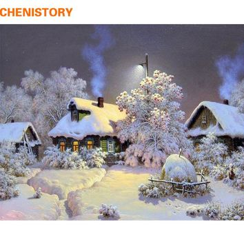 CHENISTORY Frameless Snow House DIY Painting By Numbers Landscape Wall Art Picture Hand Painted Oil Painting For Home Decor Arts