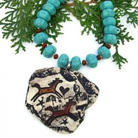 Southwest Running Horses Necklace, Petroglyph Turquoise Magnesite Handmade Jewelry for Women