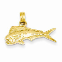 14k Yellow Gold Mahi Mahi Fish Pendant