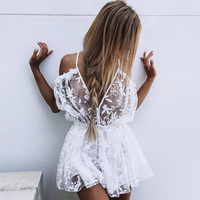 Catch Me If You Can Sheer White Romper