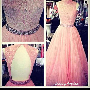 Open back beaded pink lace long prom dress with appliques  2014