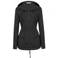 New Women Casual Hooded Long Sleeve Solid Raincoat Windbreaker Jacket Coat