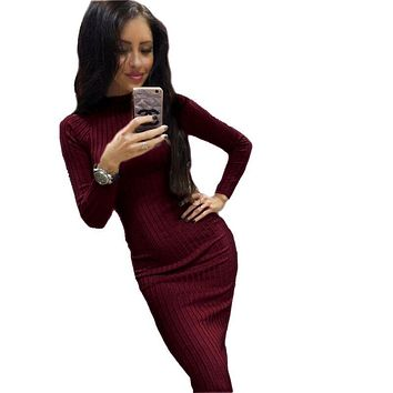 2018 Women Bodycon Sheath Office Dress Autumn Robe Sexy Black Midi Dress Long Sleeve Package Hip Dress bodycon dress GV424