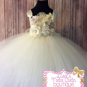Flower girl dress. Ivory flower girl. Full length flower girl dress. Ivory tutu dress. Flower tutu dress. Pageant tutu. Pageant dress.