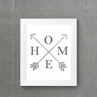 Gray Home Arrow Print, Gray Typographic Print, Gray Home Decor, Gray Dorm Decor, Gray Apartment Decor, Gray Arrow Print