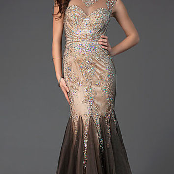Elizabeth K Long Beaded Trumpet Prom Dress