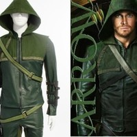 Green Arrow Cosplay Costume Oliver Queen Outfit Halloween Clothing Customized