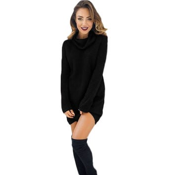 2016 Hot Sale Womens Sweater Black White Casual Long Sleeve Jumper Turtleneck Solid Sweaters Coat Blouse Pullovers