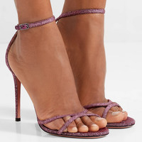 Aquazzura - Purist glittered canvas sandals