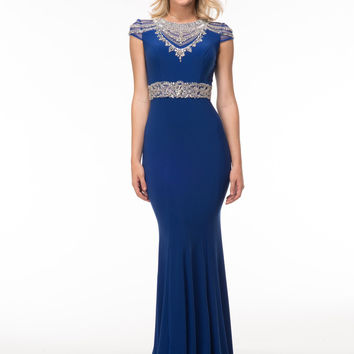GLOW G601 Blue Jersey Cap Sleeve Prom Dress Evening Gown