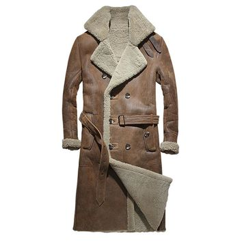 Brown Men Long Casual Shearling Coat