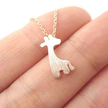 Simple Giraffe Silhouette Shaped Pendant Necklace in Rose Gold | Animal Jewelry