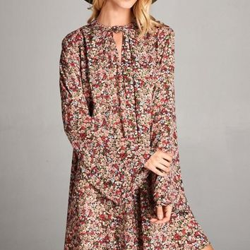 Loose Fit Long Bell Sleeved V-Neck Tunic Dress