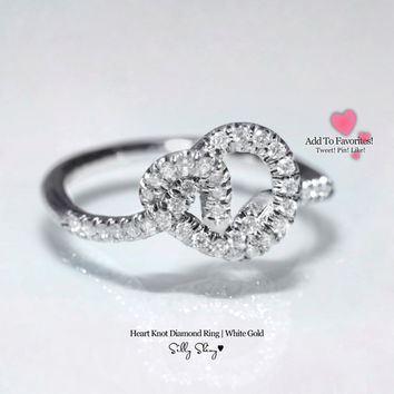 Heart Knot Diamond Ring 14K   .
