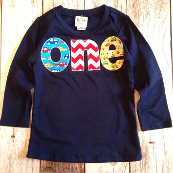 Long Sleeve Navy one Birthday Shirt - primary colors construction, pickup trucks, cars chevron- Boys 1st Birthday