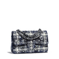 Classic Handbag, embroidered tweed & silver-tone metal, black, navy blue & ecru - CHANEL