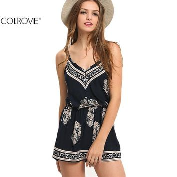 COLROVE Sexy Sleeveless 2016 Summer Style New Beach Romper Women Jumpsuit Ladies Navy V-neck Paisley Print Rompers