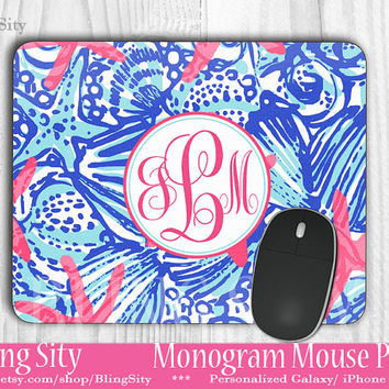 Monogram Starfish Mouse Pad Mousepad Custom Personalized Mouse pad Coral Pink Aqua Sea She Shells Inspired Girl Monogrammed
