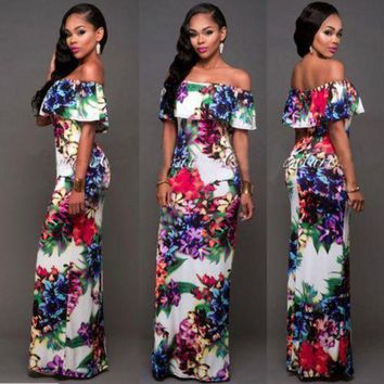 ONETOW New Women Sexy Summer Floral print out off shoulder Formal Party Cocktail Bodycon Prom Long Dress