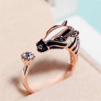 Zebra Horse Head Rhinestone Adjustable Ring