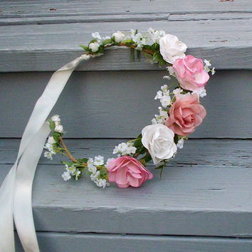 Shabby Chic bridal headpiece, silk pink peach rose flower crown -Kate- Rustic woodland vintage inspired Wedding hair accessories hair wreath