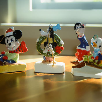 Mickey Mouse Schmid 1980s Christmas Ornaments Set of 3