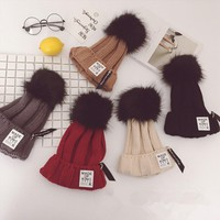 Personality Letter Label Hairball Knit Beanie Hat Winter Accessories