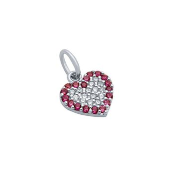 .925 Sterling Silver Nickel Free Rhodium Plated Cubic Zirconia Heart With Pink Outline Necklace