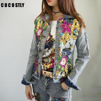 Trendy 2018 Spring Jacket Women Denim Embroidery Rose Floral Beading Pearl Sequin Patch Epaulet Ripped Hole Bomber Denim Jacket AT_94_13