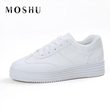 Fashion Summer Women Causal Shoes Platform Creepers Shoes Basket Flats White Leather T