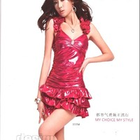2013 New Fashion Tread Shoulder Bright Cake Dress Red Women Dress - DinoDirect.com