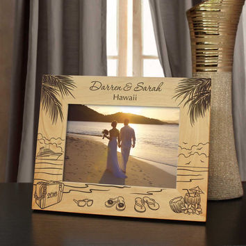 Island Retreat Inspired Picture Frame Including Your Hawaiian Vacation Information with Font Selection (Select Size and Frame Orientation)
