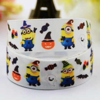 7/8'' (22mm) Minions Halloween Cartoon Character printed Grosgrain Ribbon party decoration satin ribbons X-00482 10 Yards