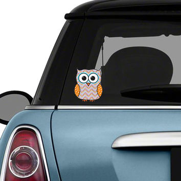 Colorful Chevron Owl Car Decal Sticker: Cute Owl Bumper Sticker Laptop Decal Orange Blue Pink