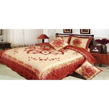 Sunset Flowers Elegant Burgundy Red Floral Embellished Ruffles Coverlet Bedspread Comforter Set (BM465L)