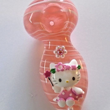 White Striped Pink Glass Pipe with Cat Cabochon, Flower & Half Beads