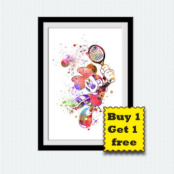 Mickey Mouse watercolor poster Mickey Mouse colorful print Disney watercolor print Home decor Kids room art  Birthday gift Nursery room W292