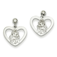 925 Sterling Silver Disney Belle In Heart Dangle Earrings