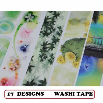17Designs Forest Leaves Fairy Flowers CactusPattern Japanese Washi Decorative Adhesive DIY Masking Paper Tape Label Sticker gift