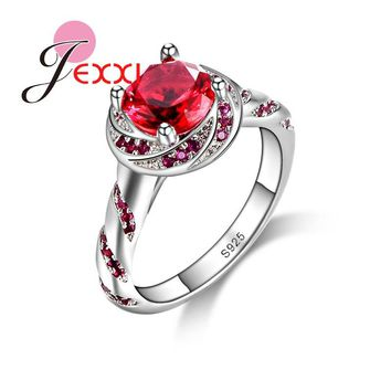 JEXXI Women Jewelry Beautiful Wedding Propose Rings Exquisite Red Clear Crystal 925 Stamp Sterling Silver Fashion Birthday Gift