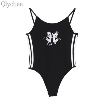 Qlychee Harajuku Streetwear Sexy Punk Angel Devil Embroidery Stripe Bodysuit Sleeveless Bodycon Jumpsuit Romper