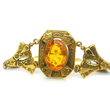 Victorian Revival Bracelet. Topaz Glass, Gold Filled. Large Citrine Color Stone. Floral Vine Links. Antique Style. Vintage Victorian Jewelry
