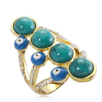 Islam Muslim turkey Evil Eye crystal ring for men & women, charm Arabic fashion jewelry gift